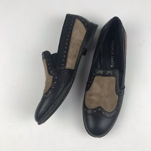 Franco Sarto Black Tan Leather Loafer 6